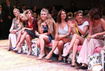 BERLIN, GERMANY - JUNE 28: Alexandra Swarovski, Jennifer Ulrich, Carolina Vera, Victoria Swarovski, Jana Pallaske, Aylin Tezel and Lena Meyer-Landrut during the Marc Cain fashion show spring/summer 2017 at CITY CUBE Panorama Bar on June 28, 2016 in Berlin, Germany. (Photo by Gisela Schober/Getty Images)