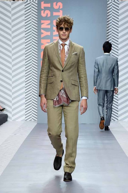 LONDON, ENGLAND - JUNE 11: A model walks the runway at the Jermyn Street St James's London Collections Men Catwalk Show on June 11, 2016 in London, England. (Photo by David M. Benett/Dave Benett/Getty Images for The Crown Estate)