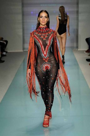 MIAMI BEACH, FL - JULY 14: A model walks the runway at Rocky Gathercole Runway Show during Art Hearts Fashion Miami Swim Week Presented by AIDS Healthcare Foundation at Collins Park on July 14, 2016 in Miami Beach, Florida. (Photo by Arun Nevader/Getty Images for Art Hearts Fashion)