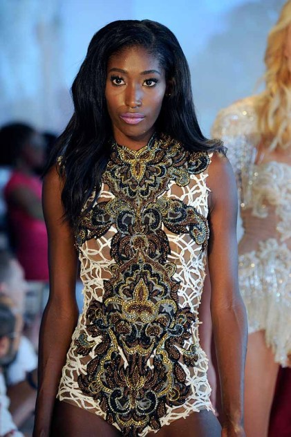 MIAMI, FL - JULY 16: A model walks the runway at Yas Couture by Elie Madi at the Art Hearts Fashion Miami Swim Week At W Hotel Presented By Planet Fashion TV at W Hotel on July 16, 2016 in Miami, Florida. (Photo by Arun Nevader/Getty Images for Art Hearts Fashion)