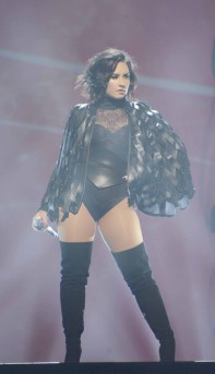 Demi Lovato, pop diva superhero, shows her style at the Mohegan Sun Arena in Connecticut July 6.