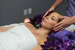 Lori-Ann Marchese receives a facial at Pure Skin in Southington, Conn.