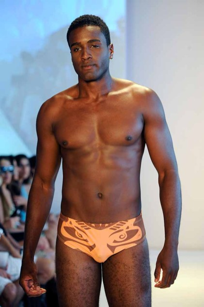 MIAMI, FL - JULY 16: A model walks the runway at Koco Blaq at the Art Hearts Fashion Miami Swim Week presented by Planet Fashion TV and sponsored by L.A.M.B. by Gwen Stefani Sunglasses at W Hotel on July 16, 2016 in Miami, Florida. (Photo by Arun Nevader/Getty Images for Art Hearts Fashion)