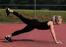 Lori-Ann Marchese performs a Plank Butt Lift.