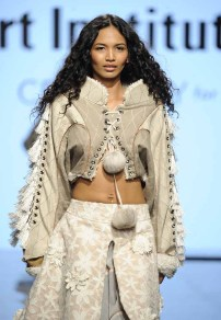 LOS ANGELES, CA - OCTOBER 12: A model walks the runway wearing Alena Kalana at Art Hearts Fashion Los Angeles Fashion The Art Institutes Showcase on October 12, 2016 in Los Angeles, California. (Photo by Arun Nevader/Getty Images for Art Hearts Fashion)