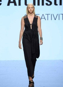 LOS ANGELES, CA - OCTOBER 12: A model walks the runway wearing Vanessa Lozada at Art Hearts Fashion Los Angeles Fashion The Art Institutes Showcase on October 12, 2016 in Los Angeles, California. (Photo by Arun Nevader/Getty Images for Art Hearts Fashion)