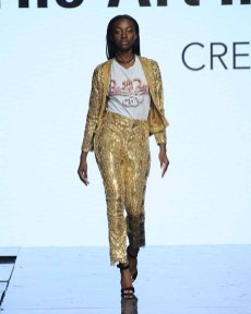 LOS ANGELES, CA - OCTOBER 12: A model walks the runway wearing Marva Aylouche at Art Hearts Fashion Los Angeles Fashion The Art Institutes Showcase on October 12, 2016 in Los Angeles, California. (Photo by Arun Nevader/Getty Images for Art Hearts Fashion)
