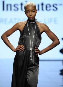 LOS ANGELES, CA - OCTOBER 12: A model walks the runway wearing Trisha Sherman at Art Hearts Fashion Los Angeles Fashion The Art Institutes Showcase on October 12, 2016 in Los Angeles, California. (Photo by Arun Nevader/Getty Images for Art Hearts Fashion)