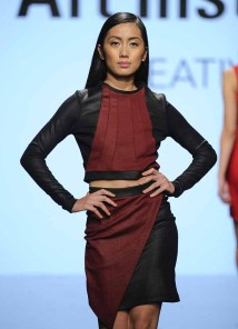 LOS ANGELES, CA - OCTOBER 12: A model walks the runway wearing Jose Ramos at Art Hearts Fashion Los Angeles Fashion The Art Institutes Showcase on October 12, 2016 in Los Angeles, California. (Photo by Arun Nevader/Getty Images for Art Hearts Fashion)