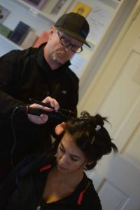 Hair stylist Bill Schrlau at a fashion shoot with Miss Connecticut Alyssa Taglia. (MIKE CHAIKEN PHOTO)