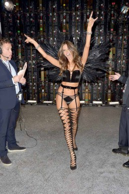 PARIS, FRANCE - NOVEMBER 30: Alessandra Ambrosio poses backstage during the Victoria's Secret Fashion Show on November 30, 2016 in Paris, France. (Photo by Dominique Charriau/Getty Images for Victoria's Secret)