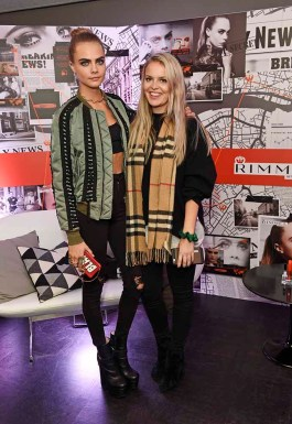 LONDON, ENGLAND - NOVEMBER 09: Cara Delevingne (L) poses as she and Rimmel celebrate their new partnership and launch the new Scandaleyes Reloaded Mascara at The Ace Hotel on November 9, 2016 in London, England. (Photo by David M. Benett/Dave Benett/Getty Images for Rimmel) *** Local Caption *** Cara Delevingne