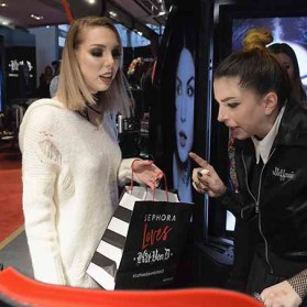 PARIS, FRANCE - JANUARY 23: (L-R) Sandrea26France and Member of the beauty artistry team Steffanie Strazzere attend the Kat Von D Beauty opening weekend with influencers at Sephora Champs-Elysees on January 23, 2017 in Paris, France. (Photo by Dominique Charriau/Getty Images for Sephora) *** Local Caption *** Sandrea26France; Steffanie Strazzere