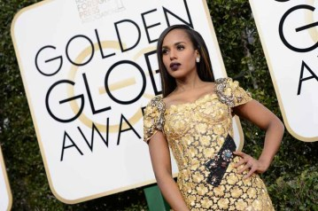 """Nominated for BEST PERFORMANCE BY AN ACTRESS IN A MINI-SERIES OR MOTION PICTURE MADE FOR TELEVISION for her role in """"Confirmation,"""" actress Kerry Washington attends the 74th Annual Golden Globes Awards at the Beverly Hilton in Beverly Hills, CA on Sunday, January 8, 2017."""