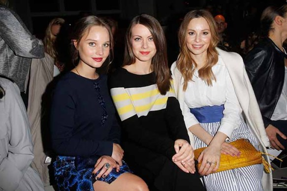 BERLIN, GERMANY - JANUARY 18: (L-R) Marie Ehrich, Alice Dwyer and Mina Tander attend the Laurel show during the Mercedes-Benz Fashion Week Berlin A/W 2017 at Kaufhaus Jandorf on January 18, 2017 in Berlin, Germany. (Photo by Isa Foltin/Getty Images for Laurel) *** Local Caption *** Marie Ehrich;Alice Dwyer;Mina Tander