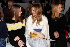 BERLIN, GERMANY - JANUARY 18: (L-R) Alice Dwyer Mina Tander and Katja Flint attend the Laurel show during the Mercedes-Benz Fashion Week Berlin A/W 2017 at Kaufhaus Jandorf on January 18, 2017 in Berlin, Germany. (Photo by Franziska Krug/Getty Images for Laurel) *** Local Caption *** Alice Dwyer;Mina Tander;Katja Flint