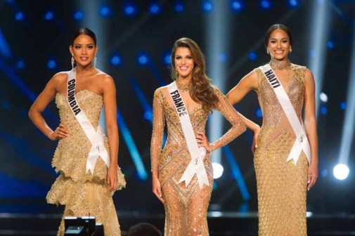 Andrea Tovar, Miss Colombia 2016; Iris Mittenaere, Miss France 2016; and Raquel Pelissier, Miss Haiti 2016; on stage as Top 3 Finalists during the Final Look segment of The 65th MISS UNIVERSE® Telecast airing on FOX at 7:00 PM ET live/PT tape-delayed on Sunday, January 29 from the Mall of Asia Arena. The contestants have been touring, filming, rehearsing and preparing to compete for the Miss Universe crown in the Philippines. HO/The Miss Universe Organization