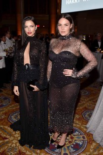 NEW YORK, NY - FEBRUARY 08: Models Adriana Lima (L) and Candice Huffine attend as Moet & Chandon Toasts to the amfAR New York Gala At Cipriani Wall Street at Cipriani Wall Street on February 8, 2017 in New York City. (Photo by Bryan Bedder/Getty Images for Moet & Chandon) *** Local Caption *** Adriana Lima;Candice Huffine