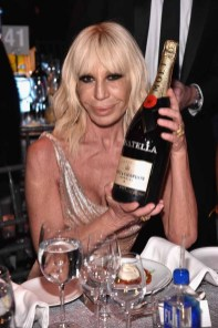 NEW YORK, NY - FEBRUARY 08: Designer Donatella Versace attends as Moet & Chandon Toasts to the amfAR New York Gala At Cipriani Wall Street at Cipriani Wall Street on February 8, 2017 in New York City. (Photo by Bryan Bedder/Getty Images for Moet & Chandon) *** Local Caption *** Donatella Versace