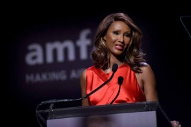 NEW YORK, NY - FEBRUARY 08: Model Iman speaks onstage as Moet & Chandon Toasts to the amfAR New York Gala At Cipriani Wall Street at Cipriani Wall Street on February 8, 2017 in New York City. (Photo by Bryan Bedder/Getty Images for Moet & Chandon) *** Local Caption *** Iman