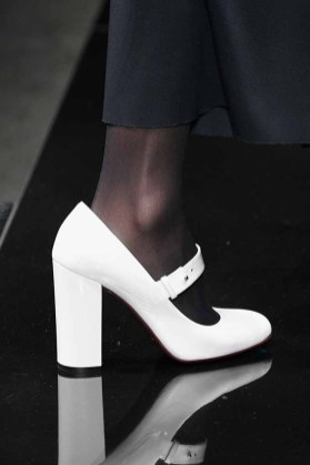 MILAN, ITALY - FEBRUARY 23: A model, shoes detail, walks the runway at the Anteprima show during Milan Fashion Week Fall/Winter 2017/18 on February 23, 2017 in Milan, Italy. (Photo by Pietro D'Aprano/Getty Images for Anteprima)