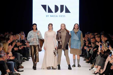 DUESSELDORF, GERMANY - JANUARY 28: (L-R) Melek Civantuerk, Laura Franziska, Sandy Provazek and a model walk the runway at the NADJA by Nadja Kiess PF Selected show during Platform Fashion January 2017 at Areal Boehler on January 28, 2017 in Duesseldorf, Germany. (Photo by Andreas Rentz/Getty Images for Platform Fashion) *** Local Caption *** Melek Civantuerk;Laura Franziska;Sandy Provazek
