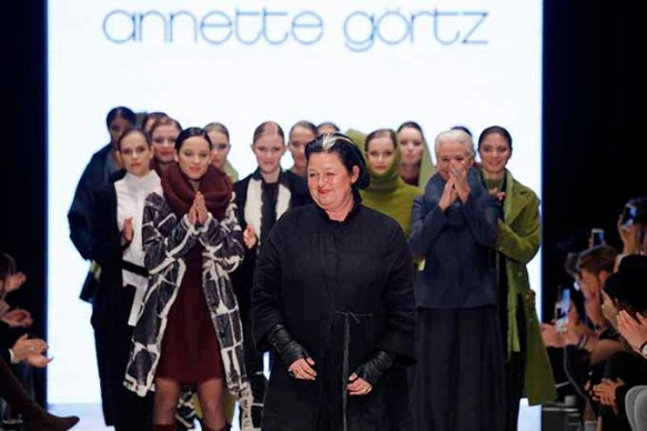 DUESSELDORF, GERMANY - JANUARY 28: Annette Goertz acknowledges the applause of the audience at the PF Selected show during Platform Fashion January 2017 at Areal Boehler on January 28, 2017 in Duesseldorf, Germany. (Photo by Andreas Rentz/Getty Images for Platform Fashion) *** Local Caption *** Annette Goertz