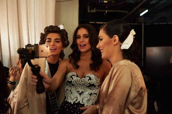 Estefania Bernal, Miss Argentina 2016; and Nuka Karalashvili, Miss Georgia 2016; backstage during The 65th MISS UNIVERSE® Telecast airing on FOX at 7:00 PM ET live/PT tape-delayed on Sunday, January 29 from the Mall of Asia Arena. The contestants have been touring, filming, rehearsing and preparing to compete for the Miss Universe crown in the Philippines. HO/The Miss Universe Organization