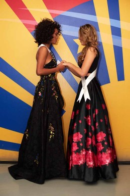 Raissa Santana, Miss Brazil 2016; and Antonella Moscatelli Saucedo, Miss Bolivia 2016; backstage during The 65th MISS UNIVERSE® Telecast airing on FOX at 7:00 PM ET live/PT tape-delayed on Sunday, January 29 from the Mall of Asia Arena. The contestants have been touring, filming, rehearsing and preparing to compete for the Miss Universe crown in the Philippines. HO/The Miss Universe Organization