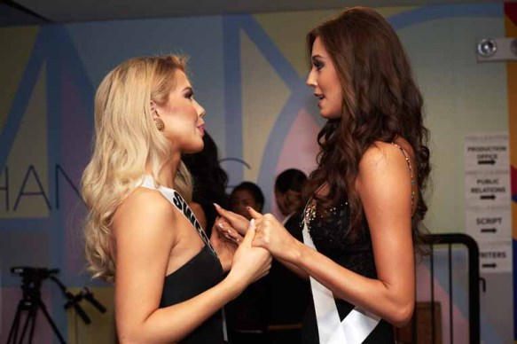 Ida Ovmar, Miss Sweden 2016; and Izabella Krzan, Miss Poland 2016; backstage during The 65th MISS UNIVERSE® Telecast airing on FOX at 7:00 PM ET live/PT tape-delayed on Sunday, January 29 from the Mall of Asia Arena. The contestants have been touring, filming, rehearsing and preparing to compete for the Miss Universe crown in the Philippines. HO/The Miss Universe Organization