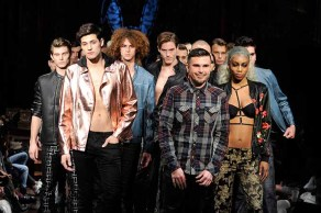 NEW YORK, NY - FEBRUARY 10: Designer Erik Rosete walks the runway with models during Mister Triple X at New York Fashion Week Art Hearts Fashion NYFW FW/17 at The Angel Orensanz Foundation on February 10, 2017 in New York City. (Photo by Arun Nevader/Getty Images for Art Hearts Fashion)