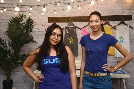 Mara Heng, left, and fashion blogger Jada Nosworthy (www.TheGirlfromConnecticut) model some of the new spring designs from Cinder + Salt.