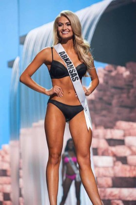 Arynn Johnson, Miss Arkansas USA 2017, competes on stage in Yandy Swim during the MISS USA® Preliminary Competition at Mandalay Bay Convention Center on May 11, 2017. The Miss USA contestants have been touring, filming, rehearsing and preparing to compete for the Miss USA crown in Las Vegas, Nevada. Tune in to the FOX telecast at 8:00 PM ET live/PT tape-delayed on Sunday, May 14, from Mandalay Bay Resort and Casino Las Vegas to see who will become Miss USA. HO/The Miss Universe Organization