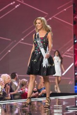 Olga Litvinenko, Miss Connecticut USA 2017, on stage in fashion by Sherri Hill during the opening of The MISS USA® Competition at the Mandalay Bay Resort and Casino on Sunday, May 14. The Miss USA contestants have spent the last few weeks touring, filming, rehearsing and preparing to compete for the Miss USA crown airing on FOX at 8:00 PM ET live/PT tape-delayed on Sunday, May 14 in Las Vegas, Nevada. HO/The Miss Universe Organization