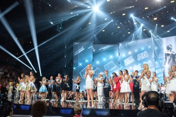 Miss USA contestants on stage in fashion by Sherri Hill with performers from Michael Jackson ONE during the opening of The MISS USA® Competition at the Mandalay Bay Resort and Casino on Sunday, May 14. The Miss USA contestants have spent the last few weeks touring, filming, rehearsing and preparing to compete for the Miss USA crown airing on FOX at 8:00 PM ET live/PT tape-delayed on Sunday, May 14 in Las Vegas, Nevada. HO/The Miss Universe Organization