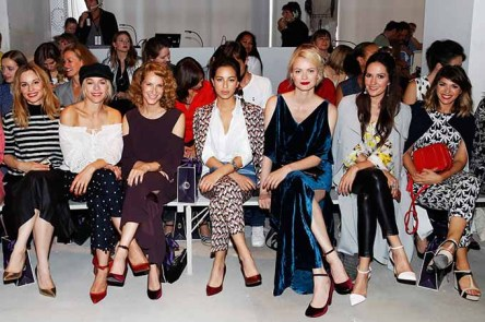 BERLIN, GERMANY - JULY 04: (L-R) Mina Tander, Julia Dietze, Chiara Schoras, Gizem Emre, Franziska Knuppe, Johanna Klum and Anna Angelina Wolfers attend the Laurel show during the Mercedes-Benz Fashion Week Berlin Spring/Summer 2018 at Kaufhaus Jandorf on July 4, 2017 in Berlin, Germany. (Photo by Franziska Krug/Getty Images for Laurel) *** Local Caption *** Chiara Schoras;Mina Tander;Julia Dietze;Franziska Knuppe;Johanna Klum;Anna Angelina Wolfers