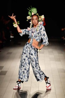 NEW YORK, NY - SEPTEMBER 07: A model walks the runway for Desigual fashion show during New York Fashion Week: The Shows at Gallery 1, Skylight Clarkson Sq on September 7, 2017 in New York City. (Photo by Frazer Harrison/Getty Images For Desigual )