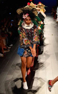 A model walks the runway for Desigual fashion show during New York Fashion Week: The Shows at Gallery 1, Skylight Clarkson Sq on September 7, 2017 in New York City.
