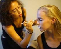Jade Soto tries out Hard Candy Metal Glaze on model Caelyn Calhoun.