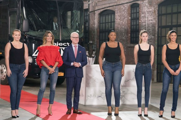 Connecticut's Kylie Frink, left, stands next to Heidi Klum and Tim Gunn in the opening episode of the 16th cycle of 'Project Runway.'