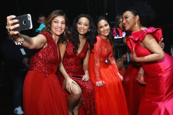 NEW YORK, NY - FEBRUARY 08: (L-R) AHA national spokeswoman Lilly Rocha, Actor Adrienne Houghton, Zuri Hall and Actor Lynn Whitfield attend the American Heart Association's Go Red For Women Red Dress Collection 2018 presented by Macy's at Hammerstein Ballroom on February 8, 2018 in New York City. (Photo by Astrid Stawiarz/Getty Images for AHA) *** Local Caption *** Lilly Rocha;Adrienne Houghton, Zuri Hall;Lynn Whitfield