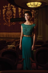 Kaliegh Garris wears a dress from Sherri Hill.