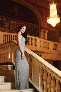 Lindiana Frangu in a gown by Mac Duggal.