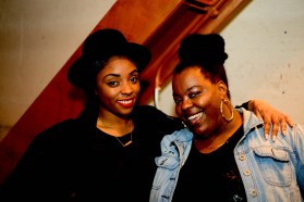 Chinnyere McPherson,left, of FASCHINN and Bertha Angelo of La'Moo at the press preview for Hartford Fashion Week.