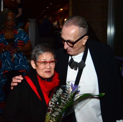 Eiko Sakai of Japanalia, left, with Thomas Foran, who gave Hartford Fashion Week the idea to salute Eiko's contributions to the Hartford fashion scene.