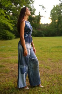 A blouse from Amalya Meira and slacks from Of The Land.