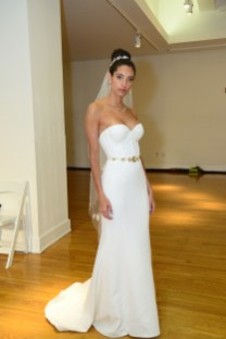 A model wears a piece from Erin Cole during The Knot Couture bridal showcase during New York Bridal Fashion Week on April 14.