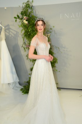 A model wears a piece from Enaura Bridal during The Knot Couture bridal showcase during New York Bridal Fashion Week on April 14.