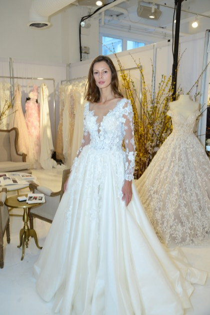 A model wears a piece from Kariena May Bridal during The Knot Couture bridal showcase during New York Bridal Fashion Week on April 14.