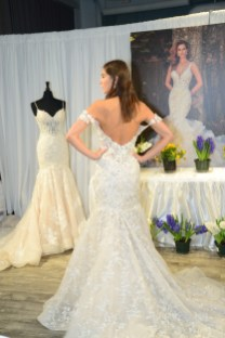 A model wears a piece from Eva Milady Bridals during The Knot Couture bridal showcase during New York Bridal Fashion Week on April 14.